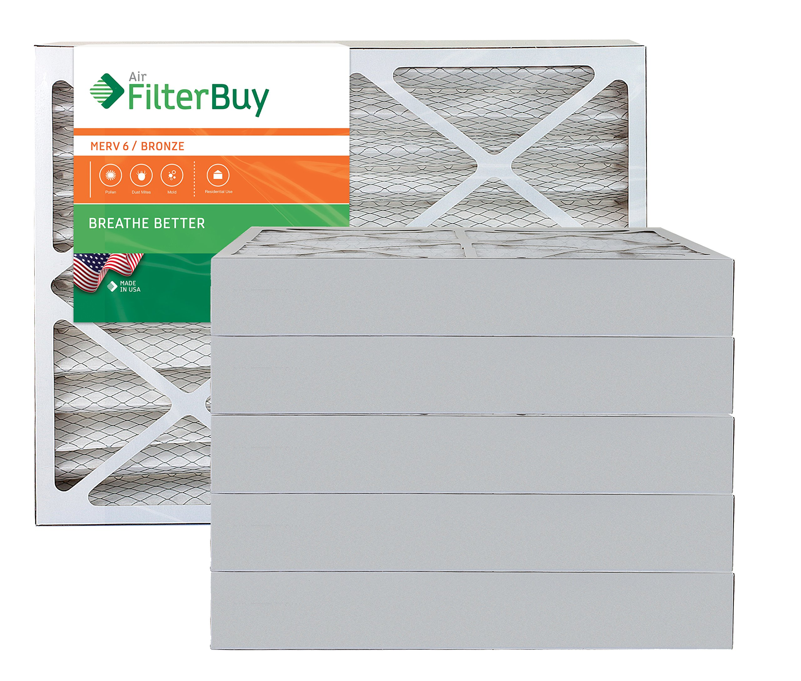 AFB Bronze MERV 6 20x23x4 Pleated AC Furnace Air Filter. Pack of 6 Filters. 100% produced in the USA.