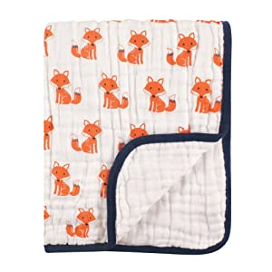 Hudson Baby Four Layer Muslin Tranquility Blanket, Foxes, One Size