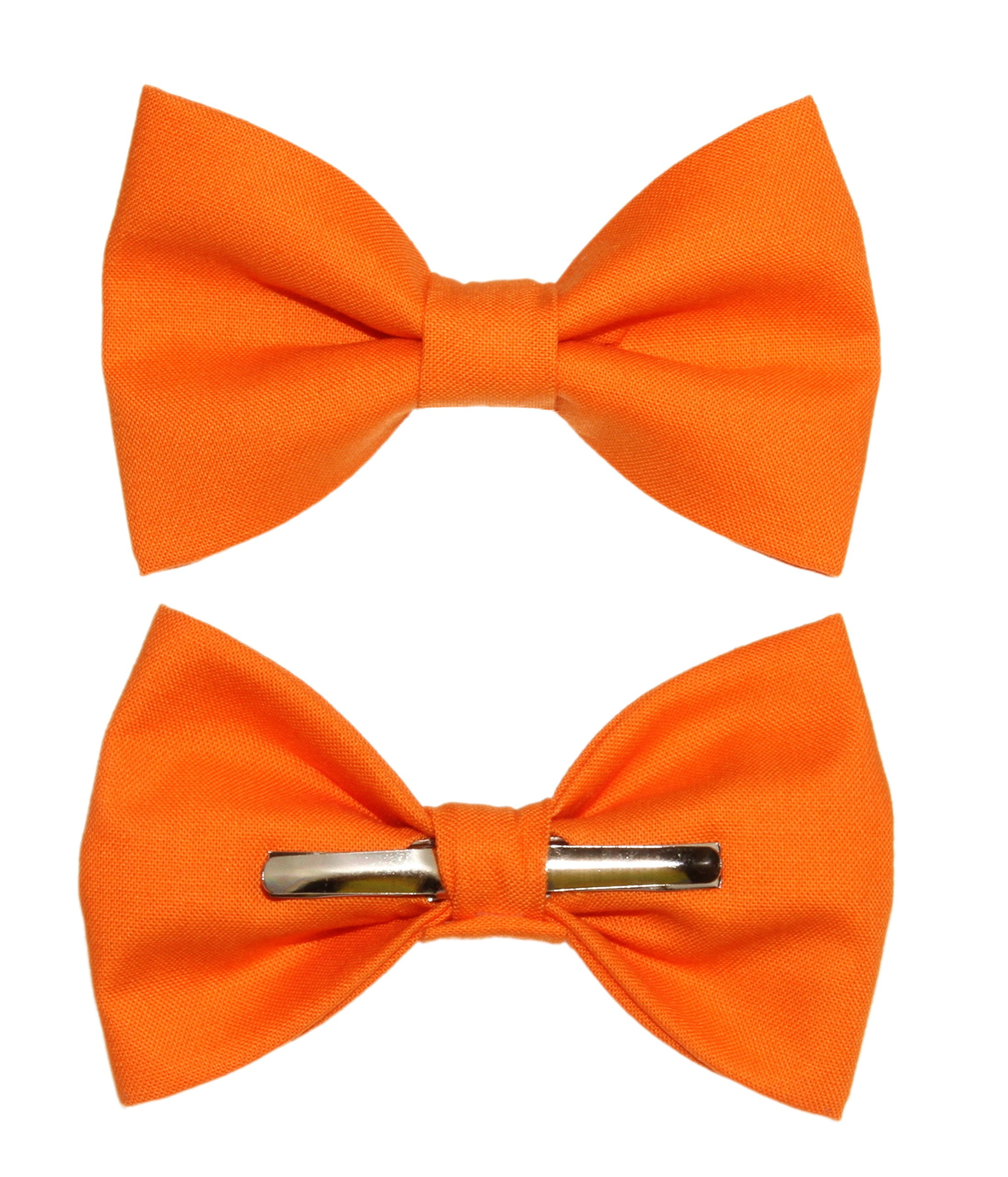 Boys Solid Orange Clip On Cotton Bow Tie amy2004marie