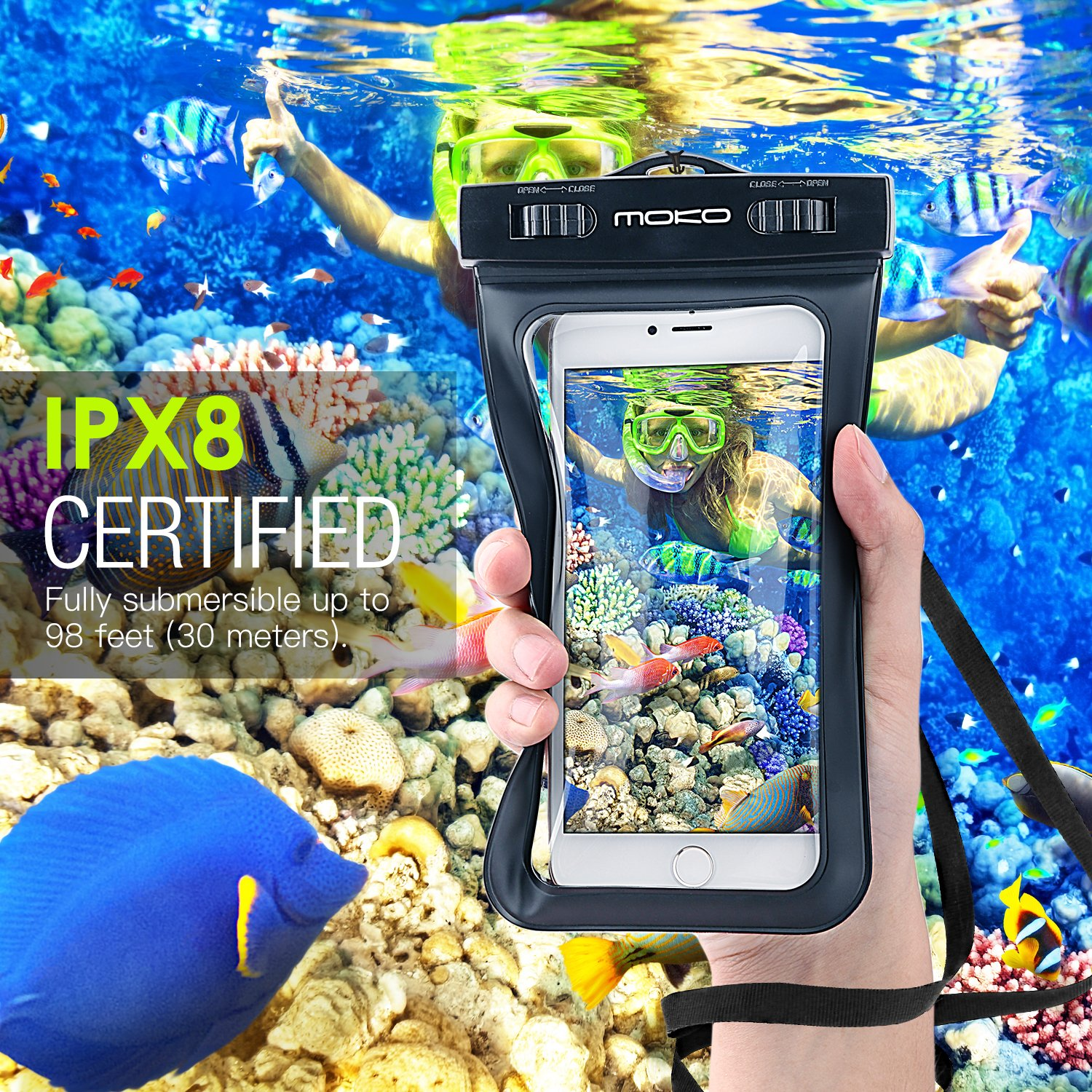 MoKo Waterproof Phone Pouch, Underwater Waterproof Cellphone Case Dry Bag with Lanyard Armband Compatible with iPhone X/Xs/Xr/Xs Max, 8/7/6s Plus, Samsung Galaxy S10/S9/S8 Plus, S10 e, S7 Edge, Black by MoKo (Image #2)
