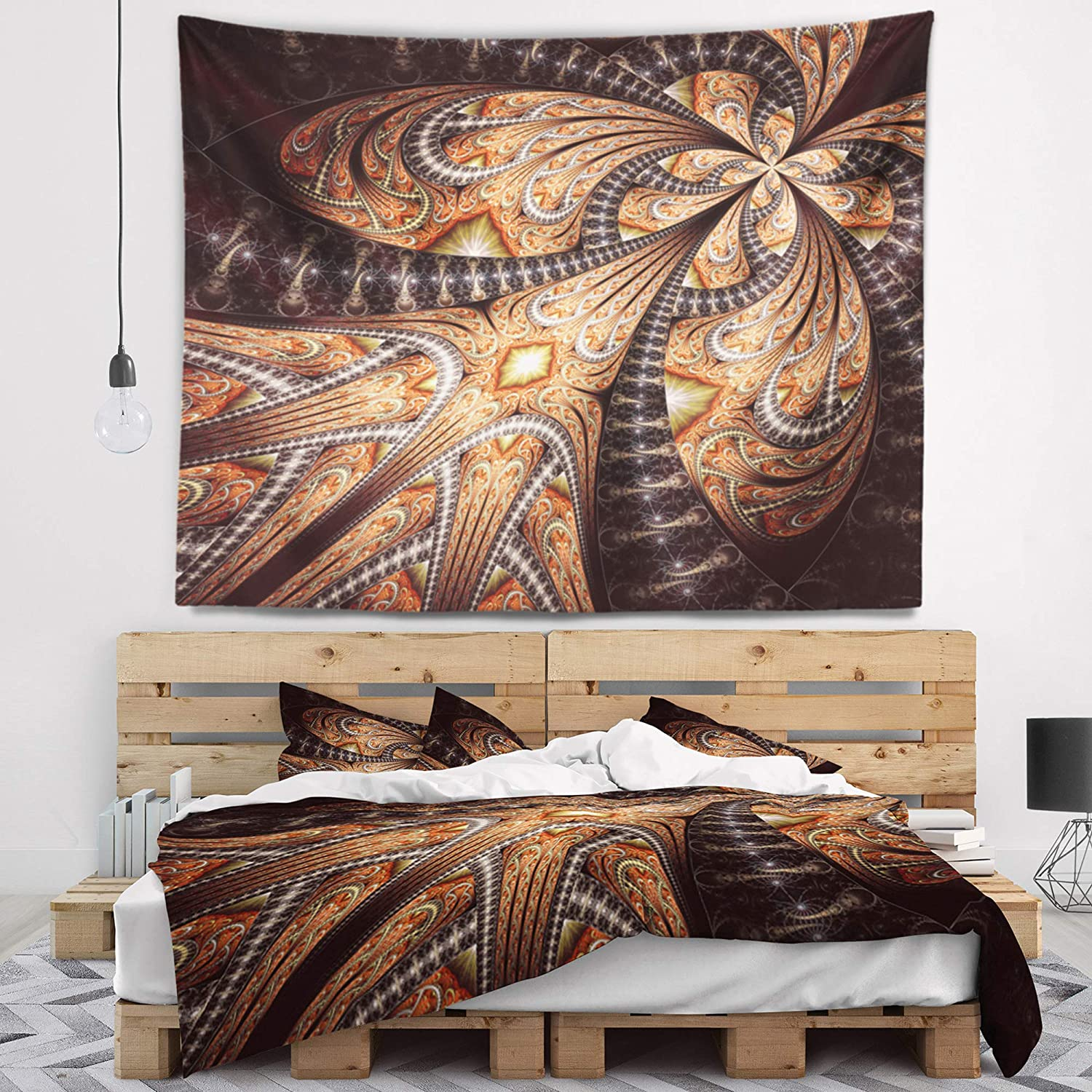 Designart Tap16495 60 50 Brown Symmetrical Fractal Flower Abstract Blanket Décor Art For Home And Office Wall Tapestry Large 60 X 50