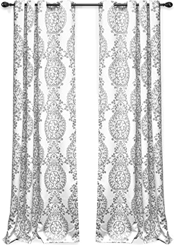 DriftAway Samantha Thermal Room Darkening Grommet Unlined Window Curtains Floral Damask Medallion Pattern 2 Panels Each 52 Inch