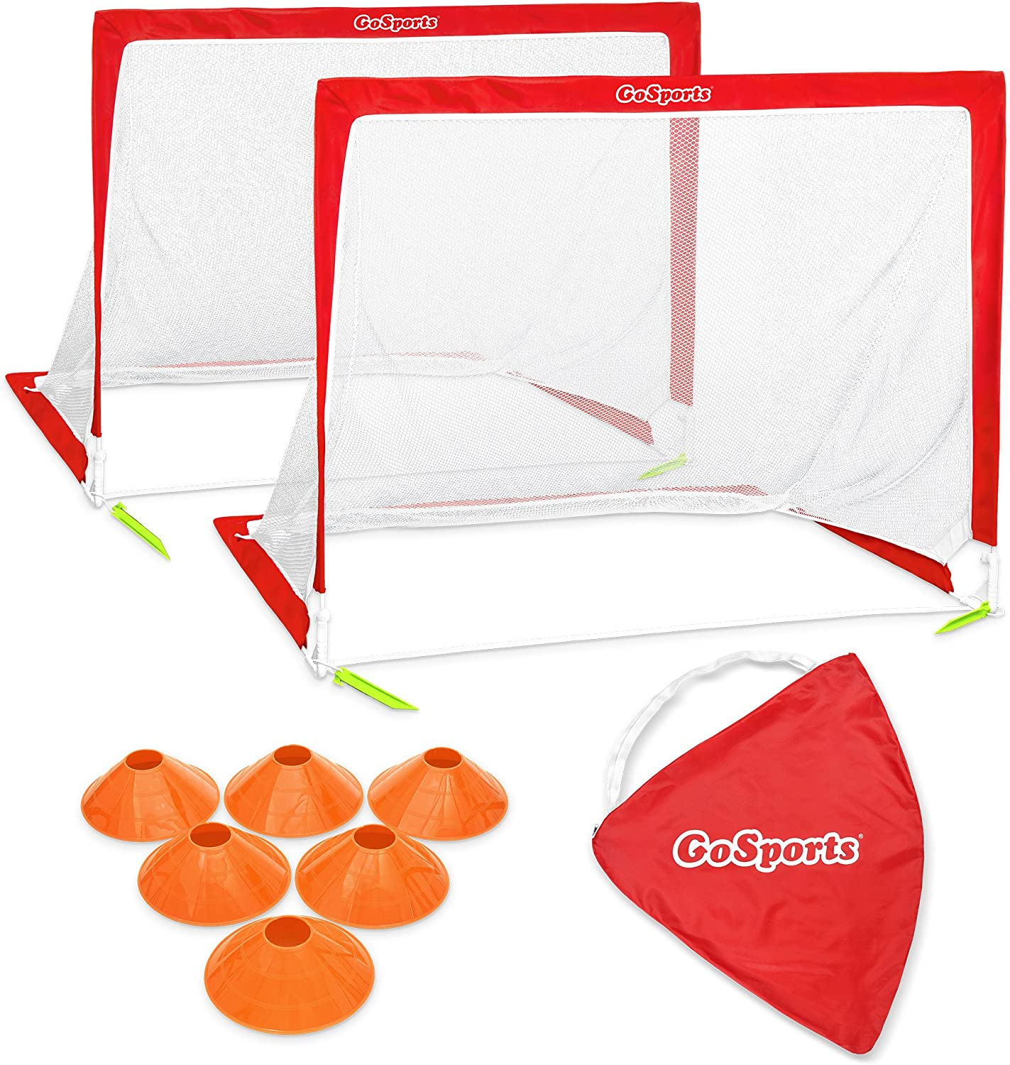 GoSports Foldable Pop Up Soccer Goal Nets, Set of 2, With Agility Training Cones and Portable Carrying Case for Kids & Adults