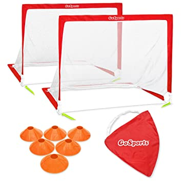 ea6b693dd GoSports 4' Portable Soccer Goal Set with 6 Cones, Setup in S, Red, 4 foot:  Amazon.co.uk: Sports & Outdoors