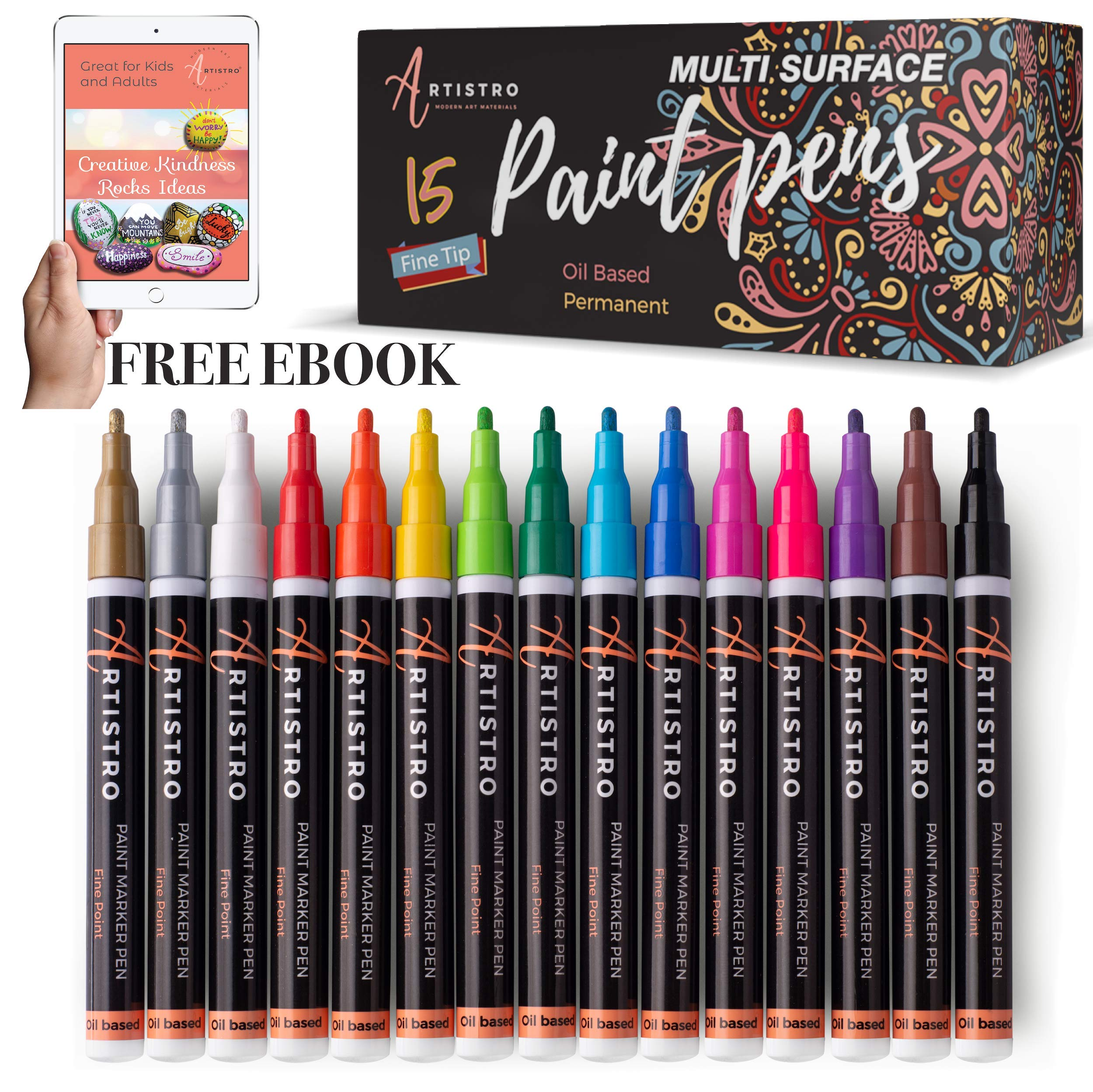 Paint Pens for Rock Painting, Stone, Metal, Ceramic, Porcelain, Glass, Wood, Fabric, Canvas. Set of 15 Permanent Oil Based Paint Markers Fine Tip by Artistro (Image #1)