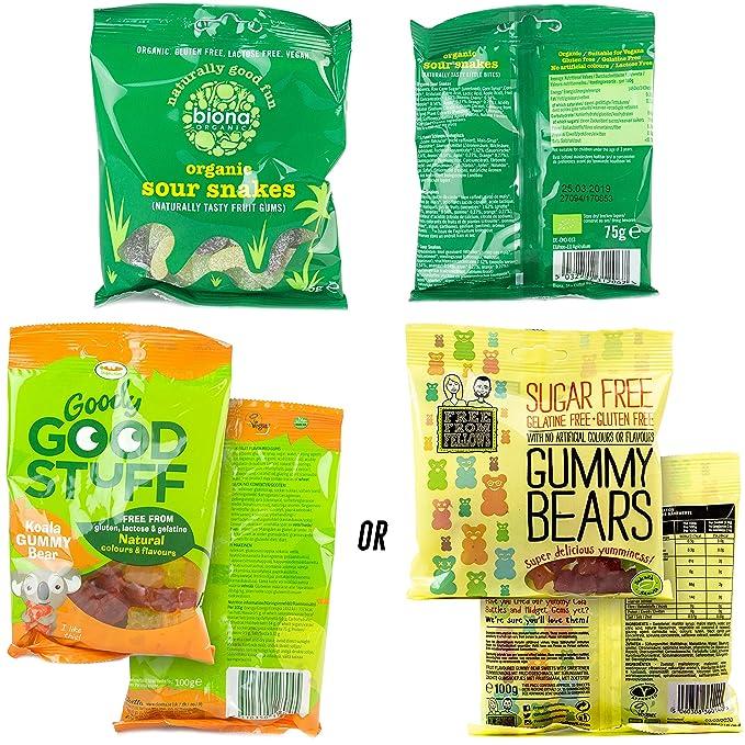 Caja de dulces veganos This Box Rocks para regalo con 6 bolsas de dulces sin gelatina en una carismática caja de regalo: Amazon.es: Alimentación y bebidas