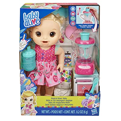 Baby Alive Magical Mixer Baby Doll Strawberry Shake with Blender Accessories, Drinks, Wets, Eats, Blonde Hair Toy for Kids Ages 3 and Up: Toys & Games
