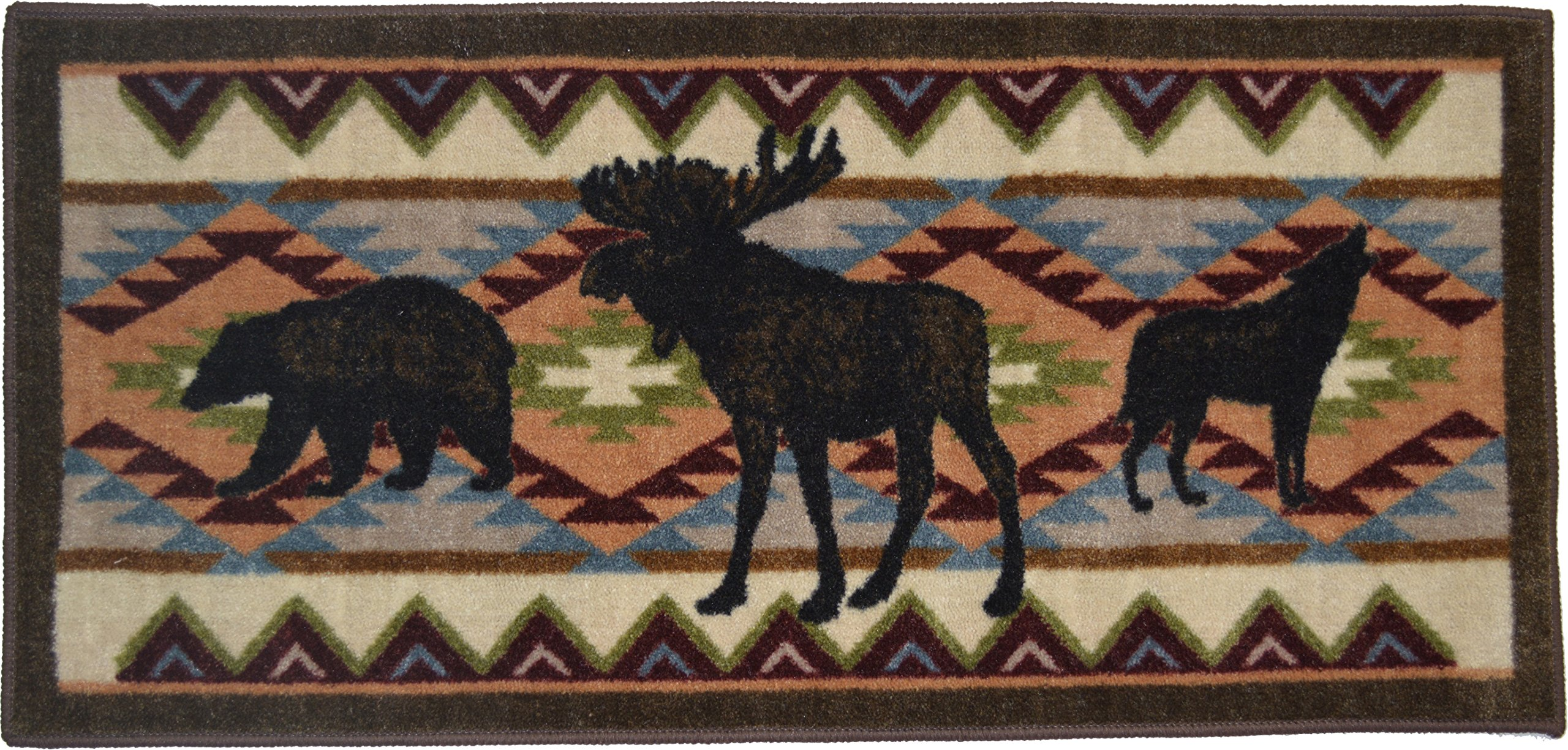 Wholesale Rug Source Cozy Cabin Woodland Party Nonskid (Non Slip) Cute Lodge Kitchen Mat Rug, 20'' W x 44'' L
