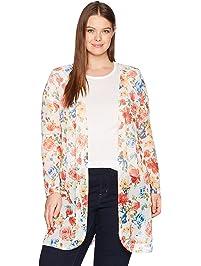 Star Vixen Womens Plus-Size Long Sleeve Lightweight Mesh Open Cardigan Cardigan Sweater