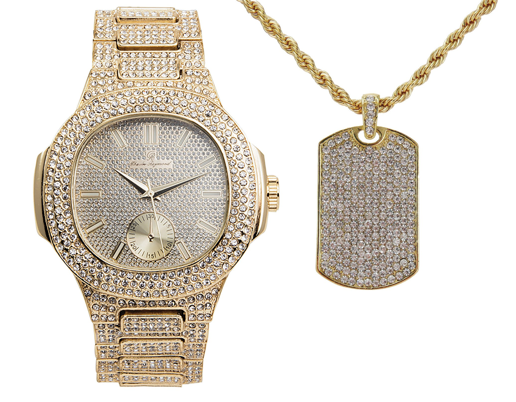 Hip Hop Ice'd Out Dog Tag Charm Necklace with Bling Mens Watch fit for a King!! 8475-SSS47Gold