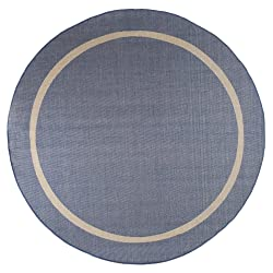 Round Area Rug, 8 Foot Stain Resistant Indoor Outdoor Contemporary Rug With Border By Lavish Home (Blue) (Accent Rug for Home Decor)