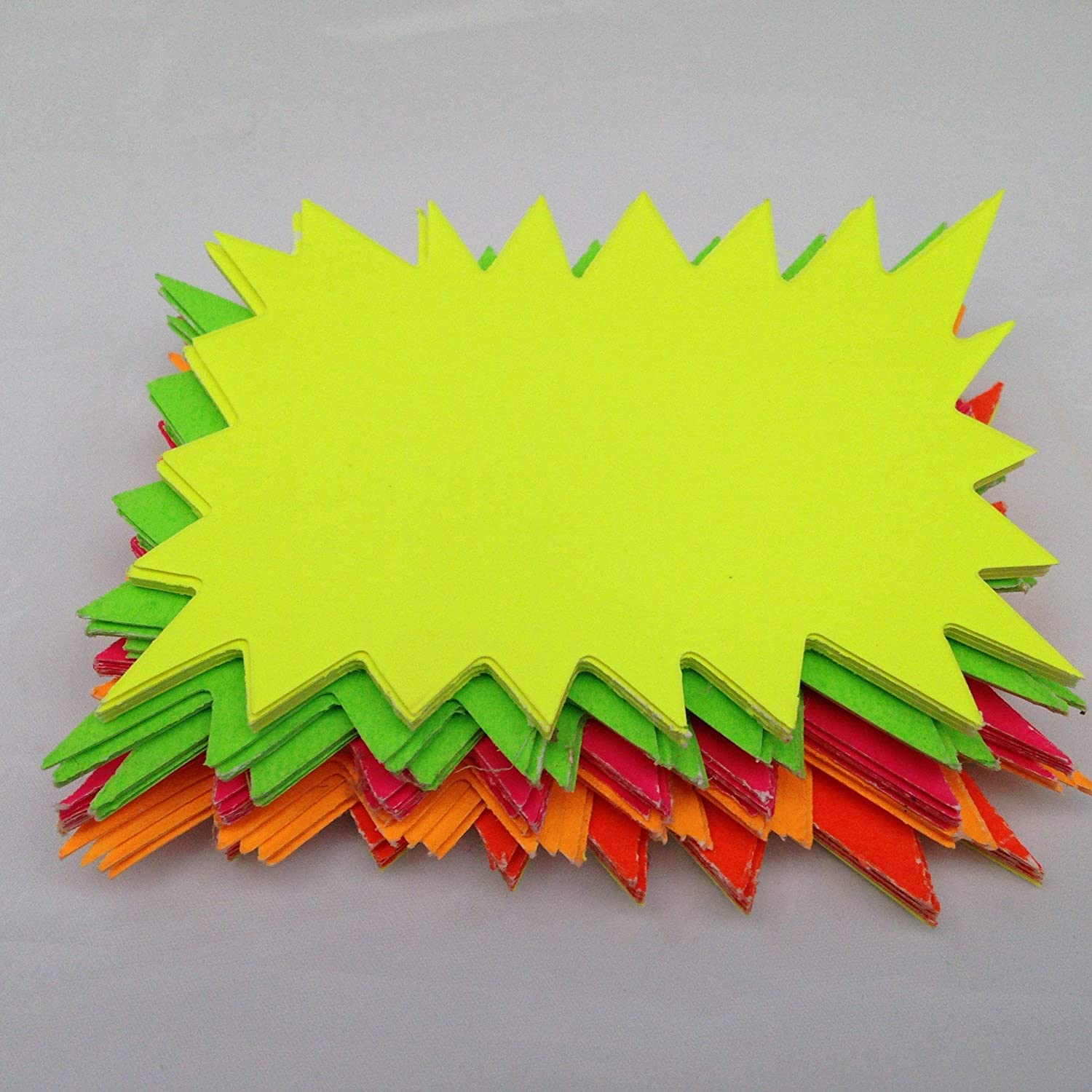 60 Fluorescent Flashes 10 x 7.5cm Stars Bright Colours Signs Revision Cards