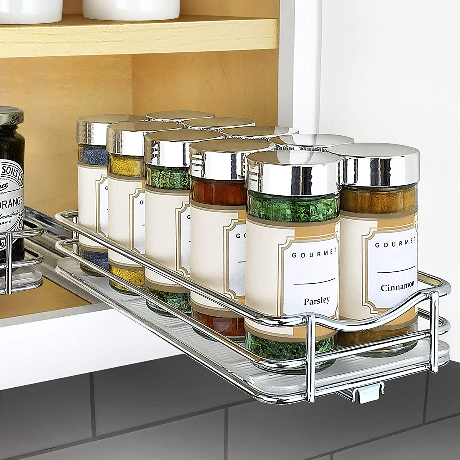 Amazon Com Lynk Professional Slide Out Spice Rack Upper Cabinet Organizer 4 1 4 Single Chrome Kitchen Dining