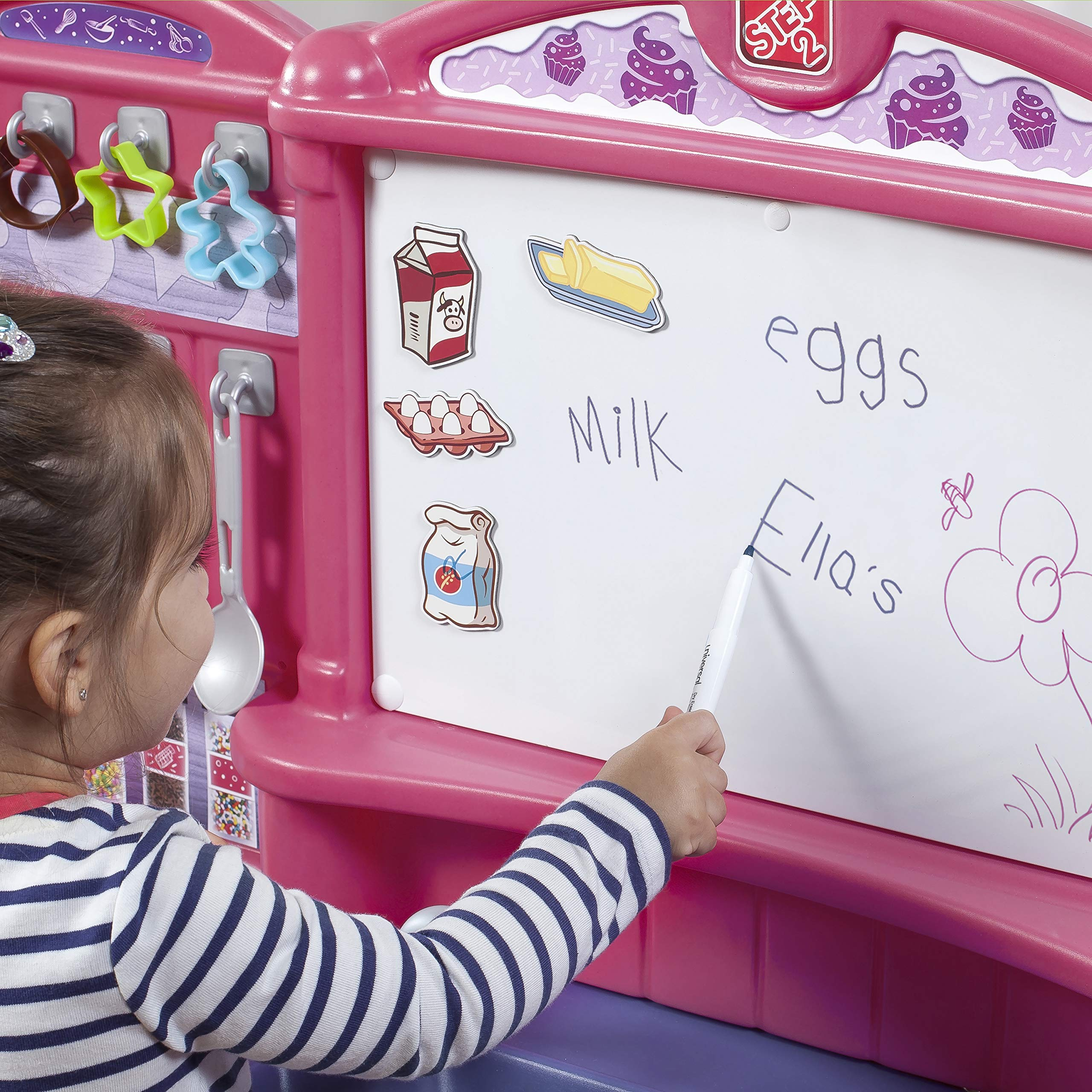 Step2 Create & Bake Play Kitchen with Toy Baking Set, Pink & Purple, 40'' H x 34.25'' W x 12'' D by Step2 (Image #7)