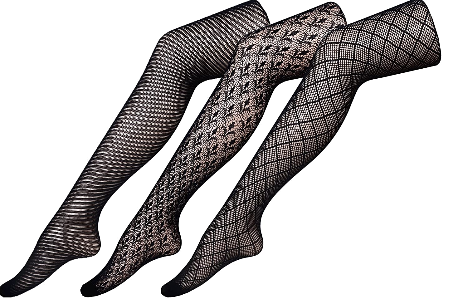 Chirrupy Chief Assorted-Pack Patterned Fishnet Pantyhose 3 Designs Per L XL XXL