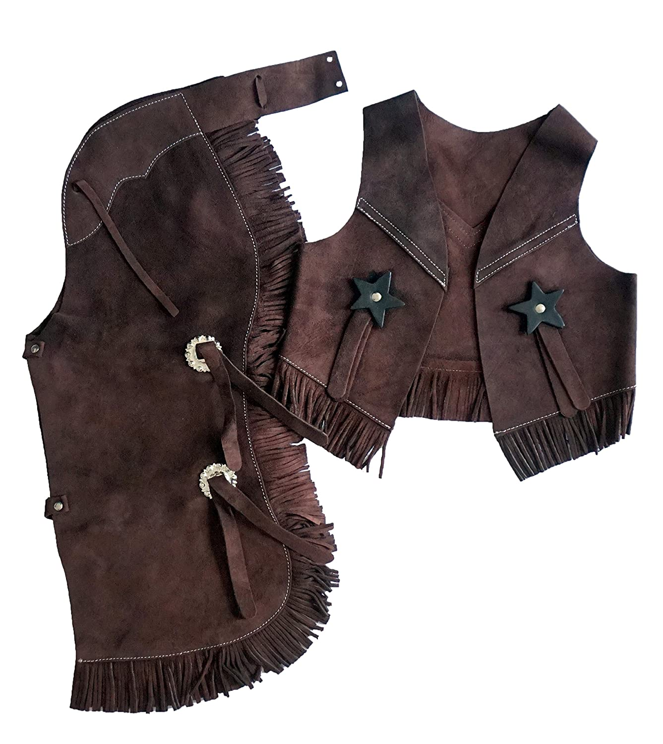 2-4 Brown, Small Equitem Childrens Suede Leather Western Chaps and Vest Set