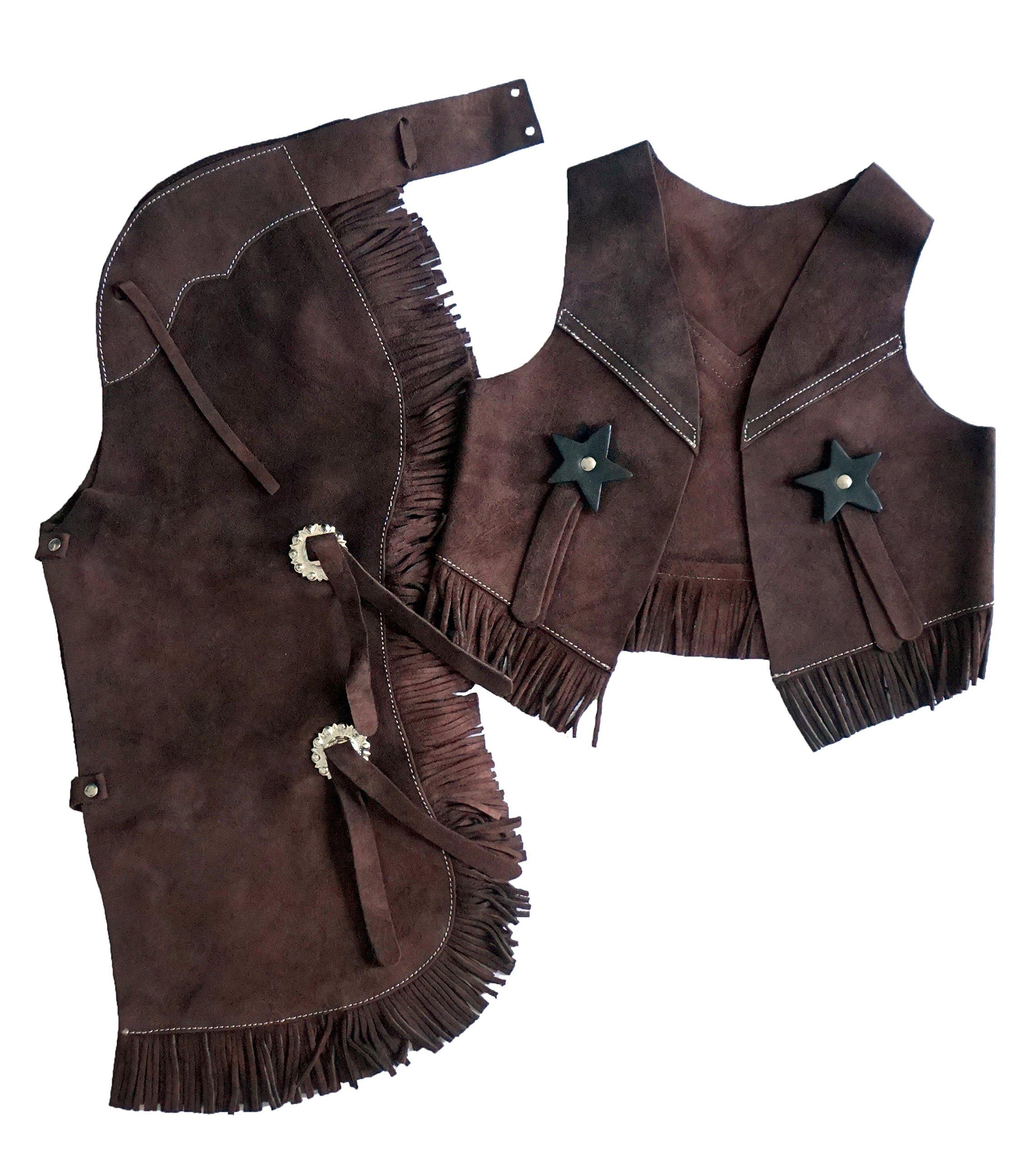 Equitem Children's Suede Leather Western Chaps and Vest Set (Brown, Medium (4-6))