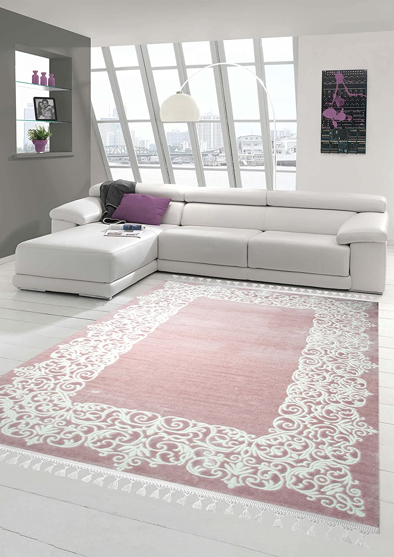 Designer Teppich Moderner Teppich Wollteppich Bordüre Design mit Fransen Wohnzimmer Teppich Rosa Creme Größe 150 cm Rund
