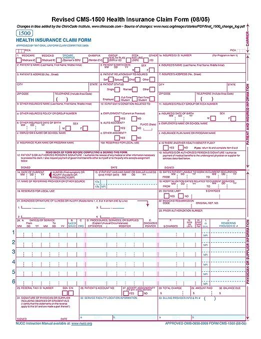 Amazon.com : CMS 1500 Claim Forms - HCFA (Version 08/05) (500 ...