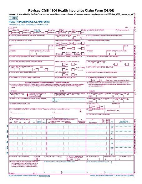 amazon com cms 1500 claim forms hcfa version 08 05 500 sheets