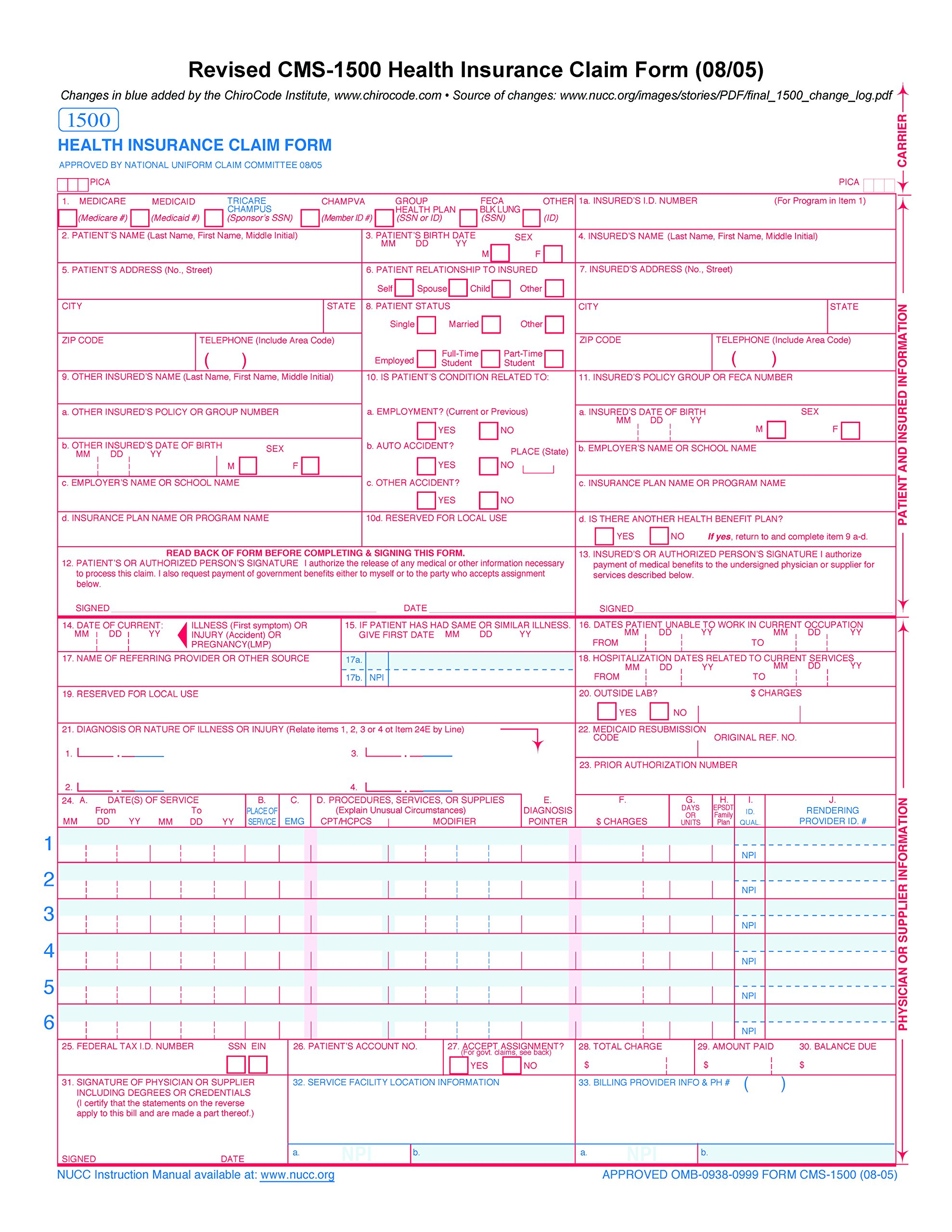 Best rated in medical insurance forms helpful customer reviews cms 1500 claim forms hcfa version 0805 500 sheets falaconquin