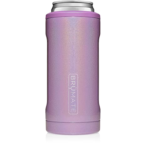 1af918d2ab8 Amazon.com: BrüMate Hopsulator Slim Double-walled Stainless Steel Insulated  Can Cooler for 12 Oz Slim Cans (Glitter Violet): Kitchen & Dining