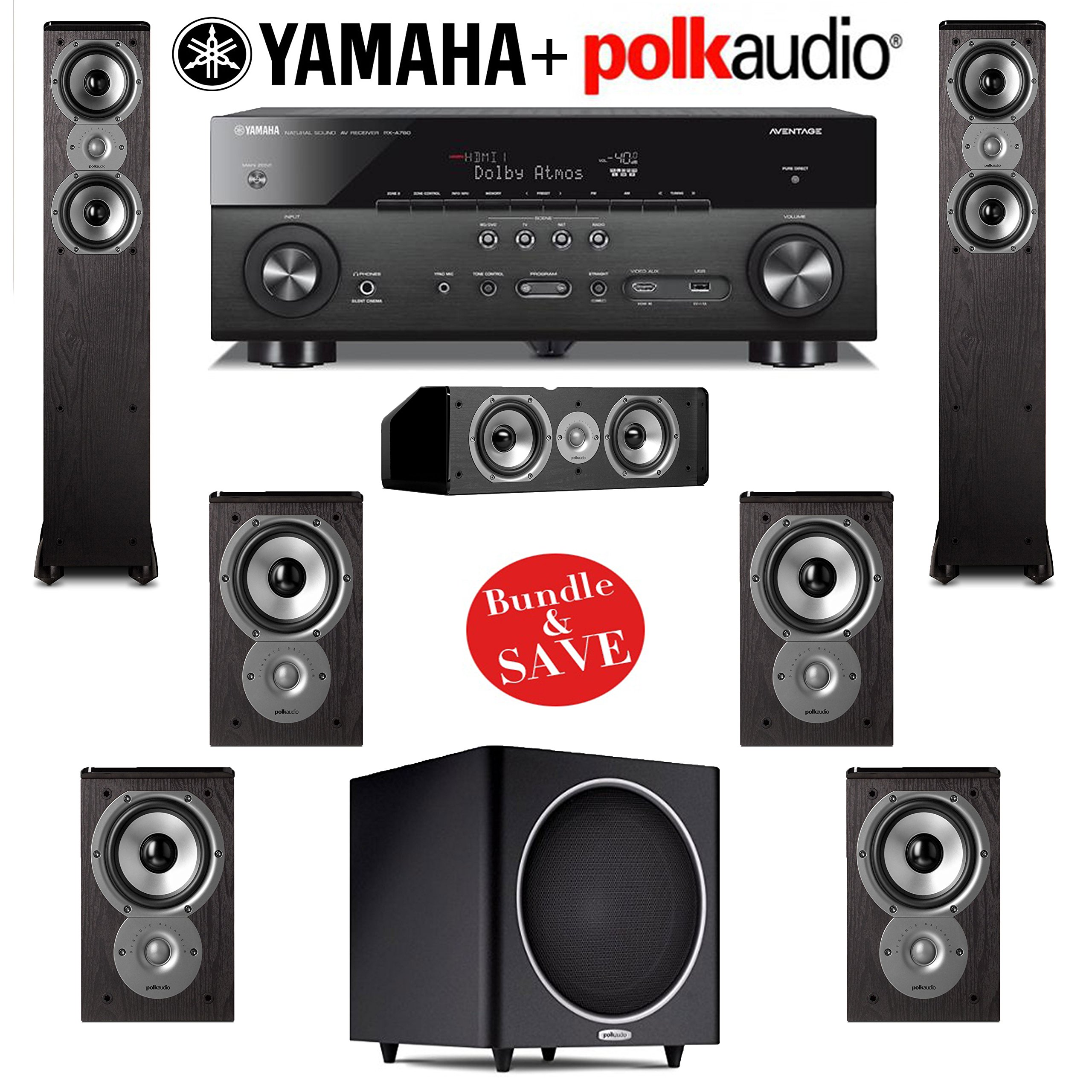 Polk Audio TSi 300 7.1 Home Theater Speaker System with Yamaha AVENTAGE RX-A760BL 7.2-Ch Network AV Receiver