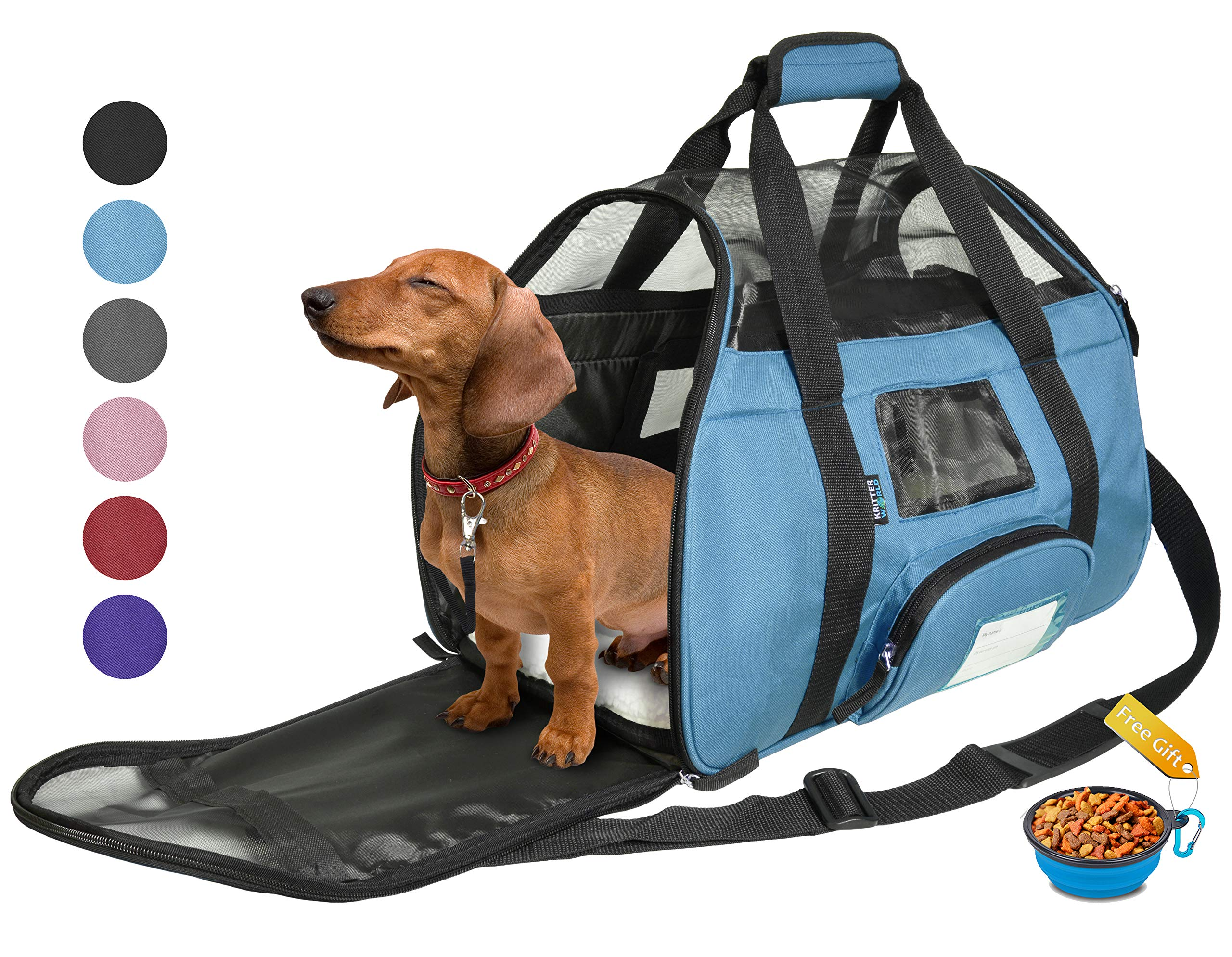 Tirrinia Soft Sided Pet Carrier Travel Bag for Small Dogs and Cats Small Animals Airline Approved with Removable Sherpa Lining Bed and Lost & Found Tag Blue