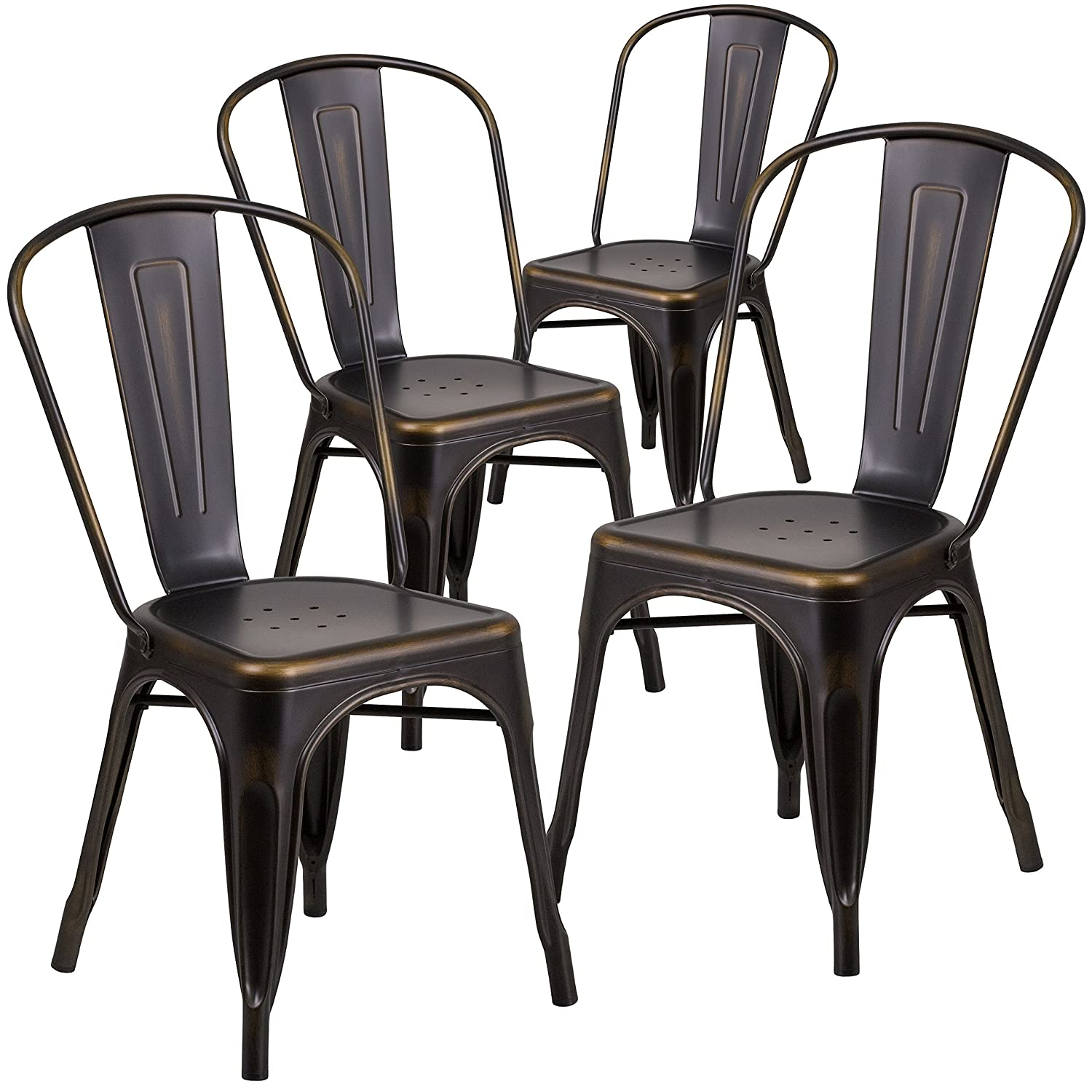 Amazon com flash furniture 4 pk distressed copper metal indoor outdoor stackable chair kitchen dining