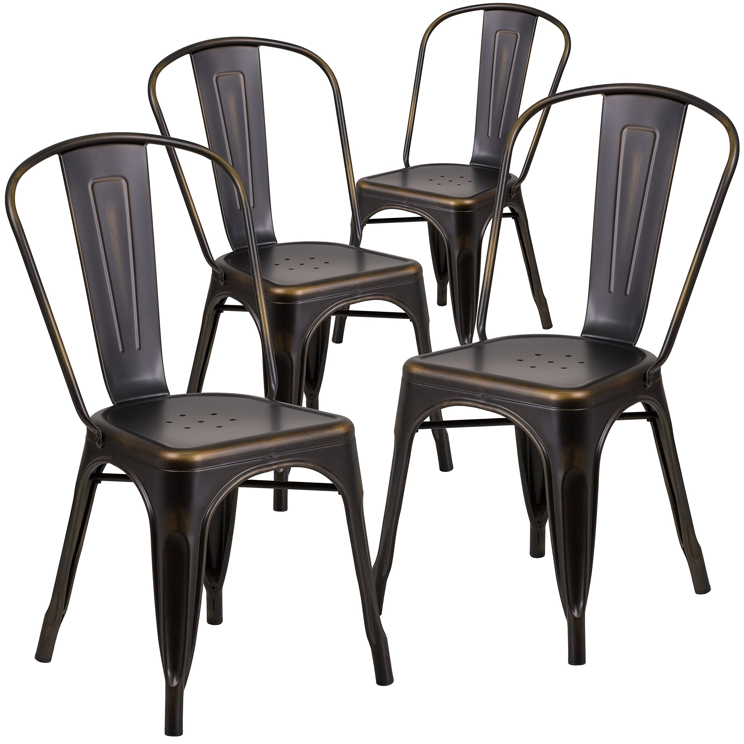 Flash Furniture 4 Pk. Distressed Copper Metal Indoor-Outdoor Stackable Chair