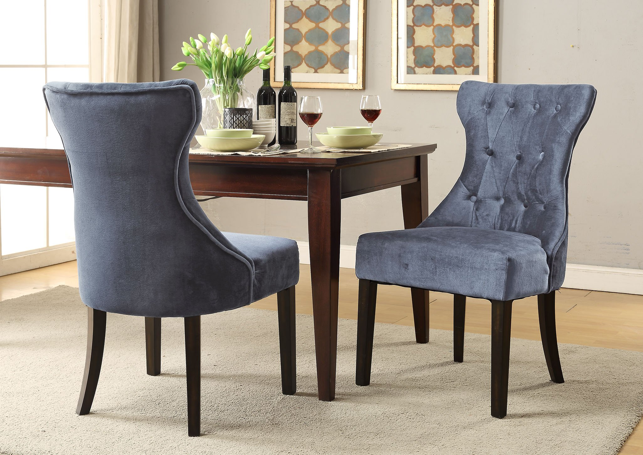 Iconic Home Dickens Dining Side Chair Button Tufted Velvet Espresso Wood Legs Modern Contemporary, Grey, Set of 2