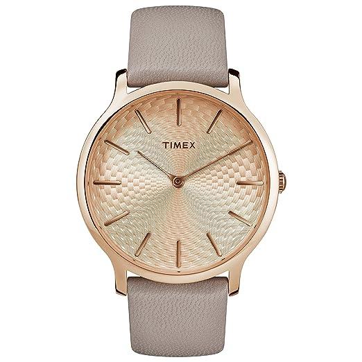 Timex mujer Skyline cuarzo latón y piel Casual reloj, color: gris