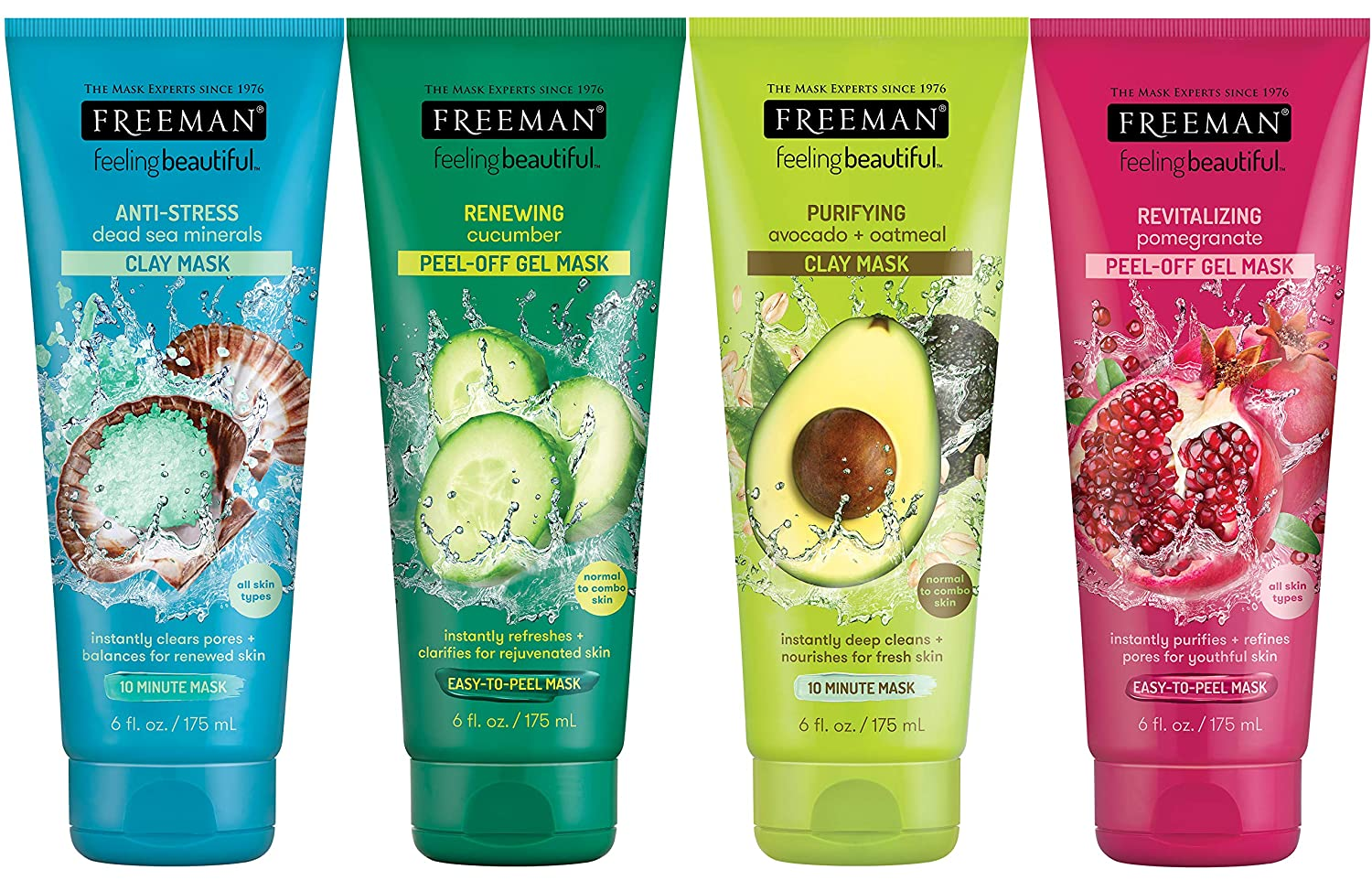 Freeman Facial Mask Variety Bundle, 6 fl oz (Pack of 4) includes 1-Tube Dead Sea Minerals Facial Anti-Stress Mask + 1-Tube Cucumber Facial Peel-off Mask + 1-Tube Avocado & Oatmeal Facial Clay Mask + 1-Tube Pomegranate Facial Revealing Peel-Off Mask