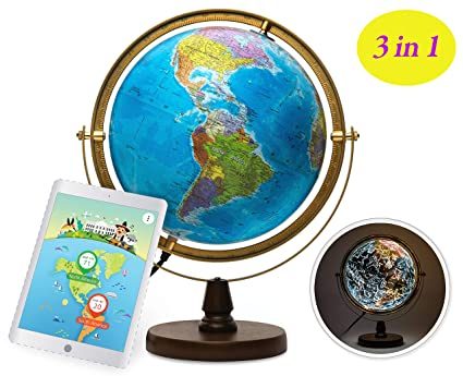 SJ SMART GLOBE with Interactive APP & LED Illuminated Constellations at Night, Educational Content for Kids, US-Certified LED & US-Patented STEM Toy, 10 Globe with Detailed map