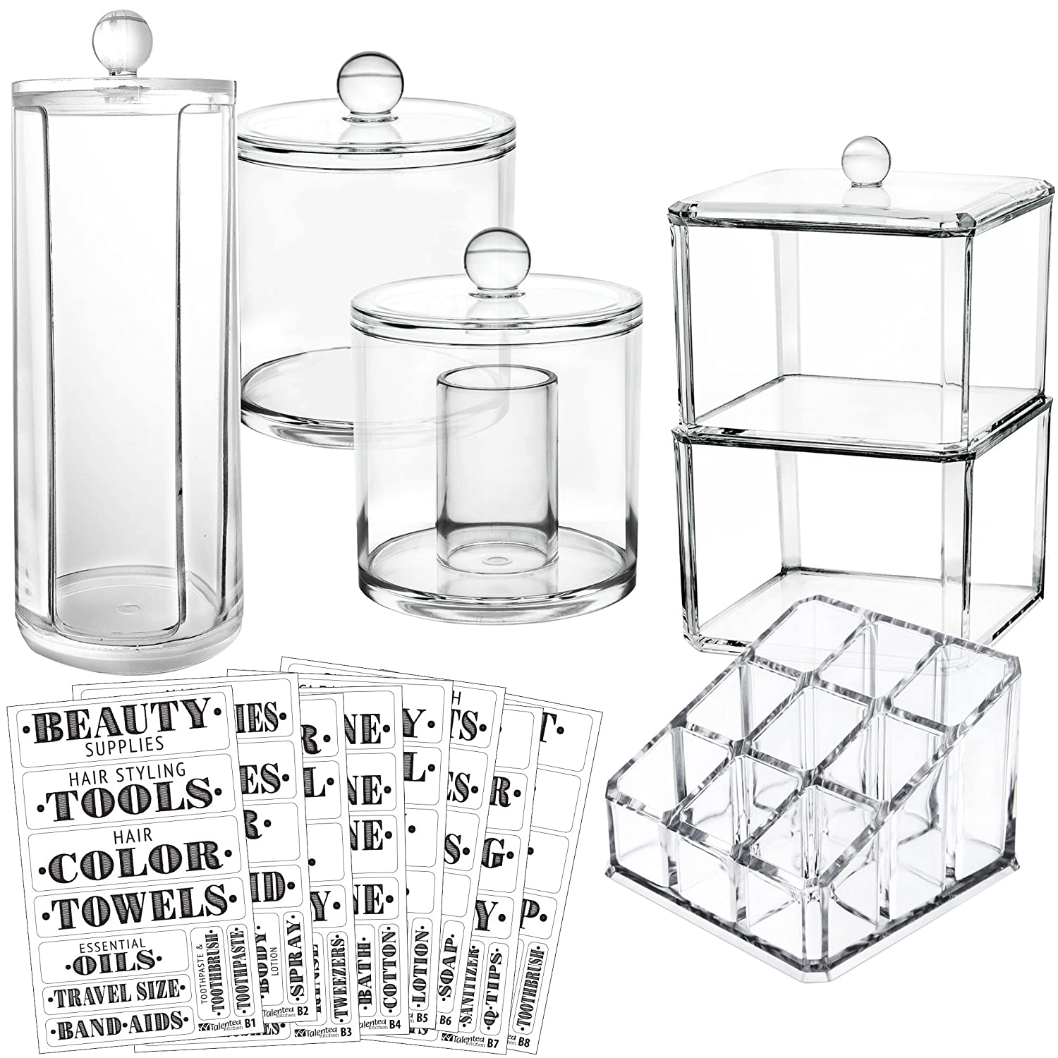 Talented Kitchen Bathroom Organizer Container Set. Complete Storage: 5 Canister Jars & 72 Preprinted Labels. Acrylic Makeup Organizers f/Countertop Vanity Cabinet. Make Up Cotton Ball QTip Swab Holder