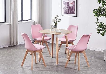 P&N Homewares Ensemble Table Ronde Effet Chêne + 4 Chaises ...