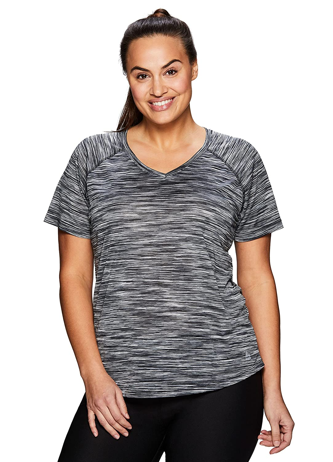 344caa38 Step up your fitness routine in this heathered space dye short sleeve v-neck  tee with side ruching. This tee features a v neckline for a feminine fit  and ...