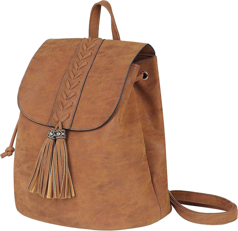 Mochila de Mujer Casual Backpack Bohemia Impermeable PU con Borla Mochila Estilo étnico Vintage para Viajar Compras Fiesta Vacaciones