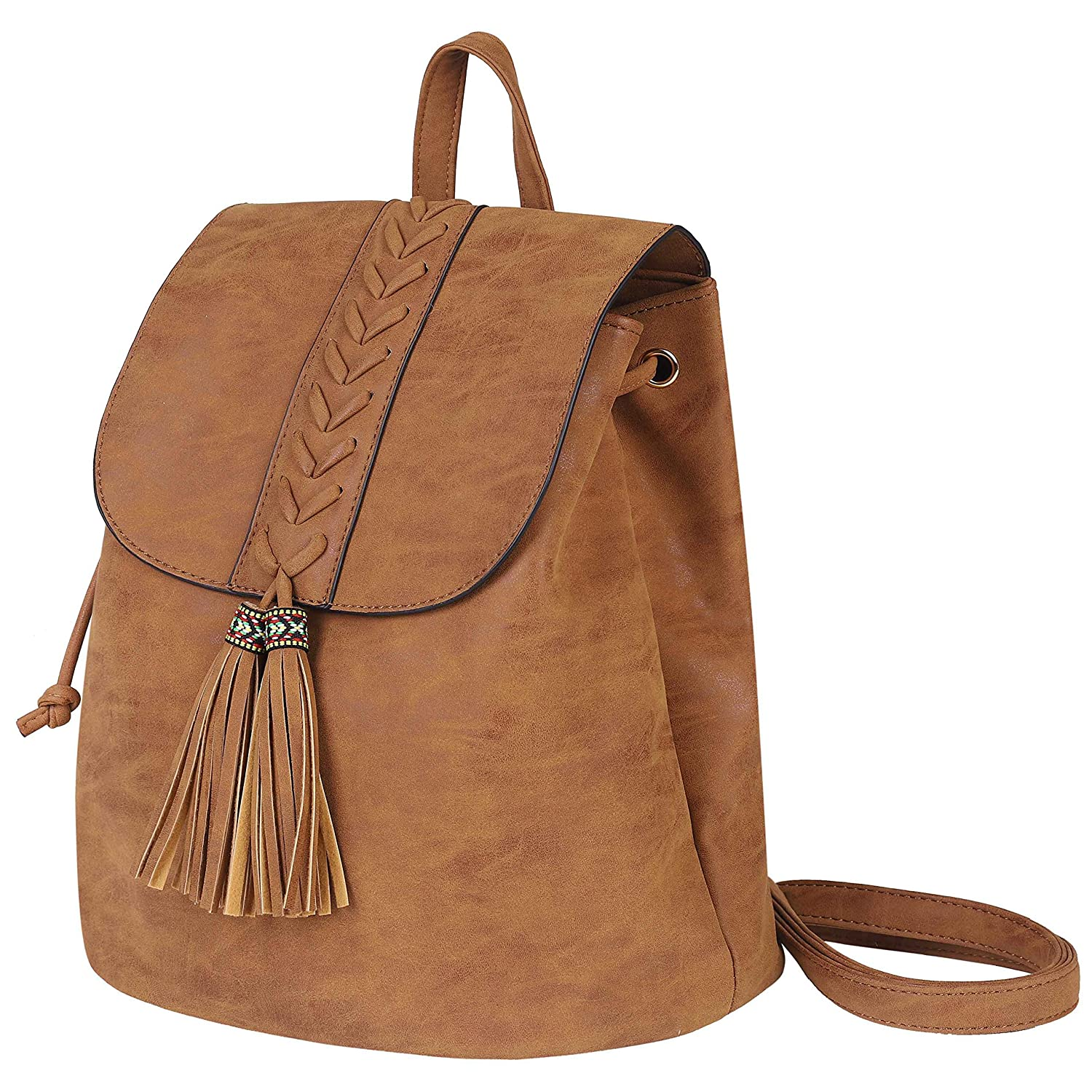 Lady Backpack Casual Rucksack for Women Bohemia Small Bag Waterproof PU with Tassel Vintage Ethnic Style Backpack for Traveling Dating Holidays Party Brown Shopping