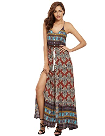 e86699dbee2 Floerns Women s Sleeveless Sundress Beach Maxi Long Dress at Amazon ...