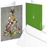 Set di 10biglietti di auguri natalizi, pieghevoli, in grigio/rosso/verde con albero di Natale colorato, stile shabby chic, 10,5x 14,8cm da chiusi, con busta inclusa