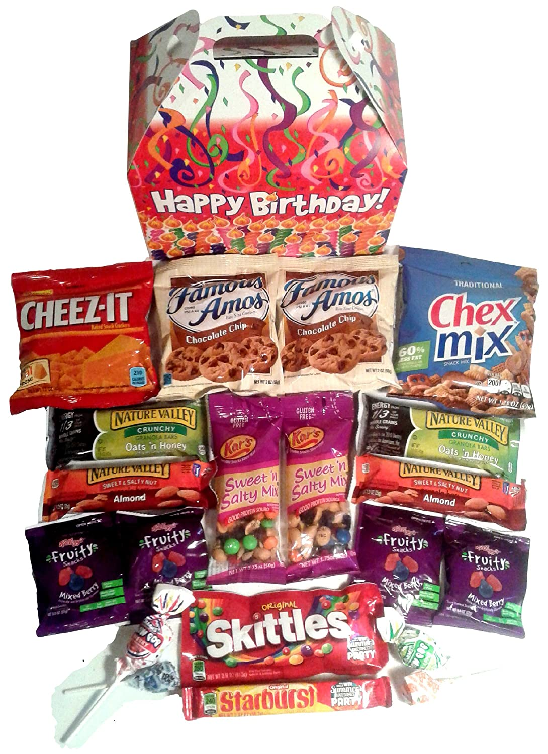 Happy Birthday Care Package features fun birthday candles graphic Gift Box stuffed with savory snacks and sweet candy treats, the perfect gift for your college student, military, or co-worker