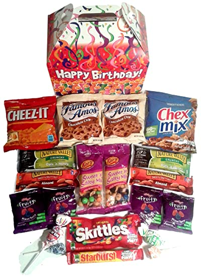 Happy Birthday Care Package Features Fun Candles Graphic Gift Box Stuffed With Savory Snacks And