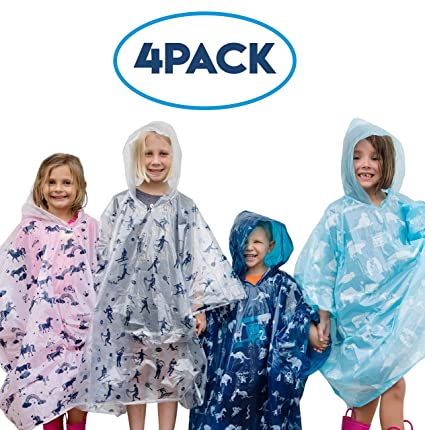 online store special selection of attractive colour Furry Smile Disposable Rain Ponchos for Kids: Emergency Rain Poncho - 4  Pack of Youth Size Hooded Ponchos for Boys and Girls - Lightweight,  Packable ...