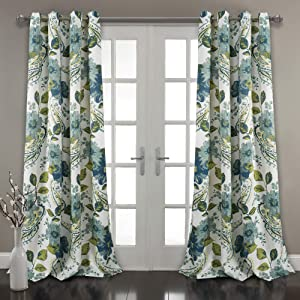 "Lush Decor, Blue Floral Paisley Room Darkening Window Curtain Panel Pair, 95"" x 52"""