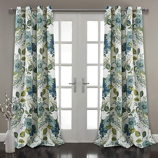 Amazon Com Lush Decor Floral Paisley Window Curtain Panel Set Of 2 84 X 52 Pair Blue Home Kitchen