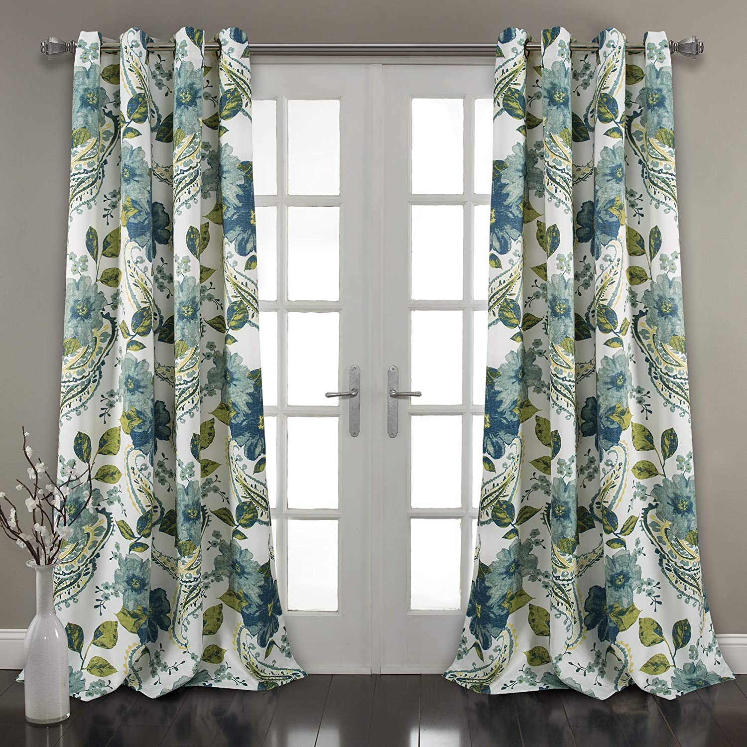 "Lush Decor Floral Paisley Window Curtain Panel (Set of 2), 84"" x 52"" Pair, Blue"