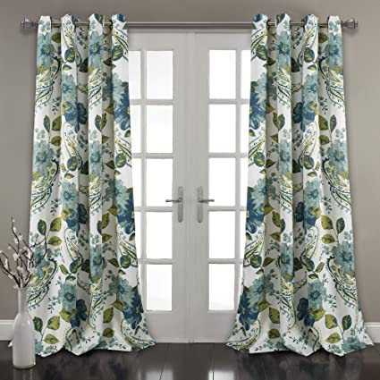 fe64cc289a9 Amazon.com  Lush Decor Floral Paisley Window Curtain Panel (Set of 2) 84