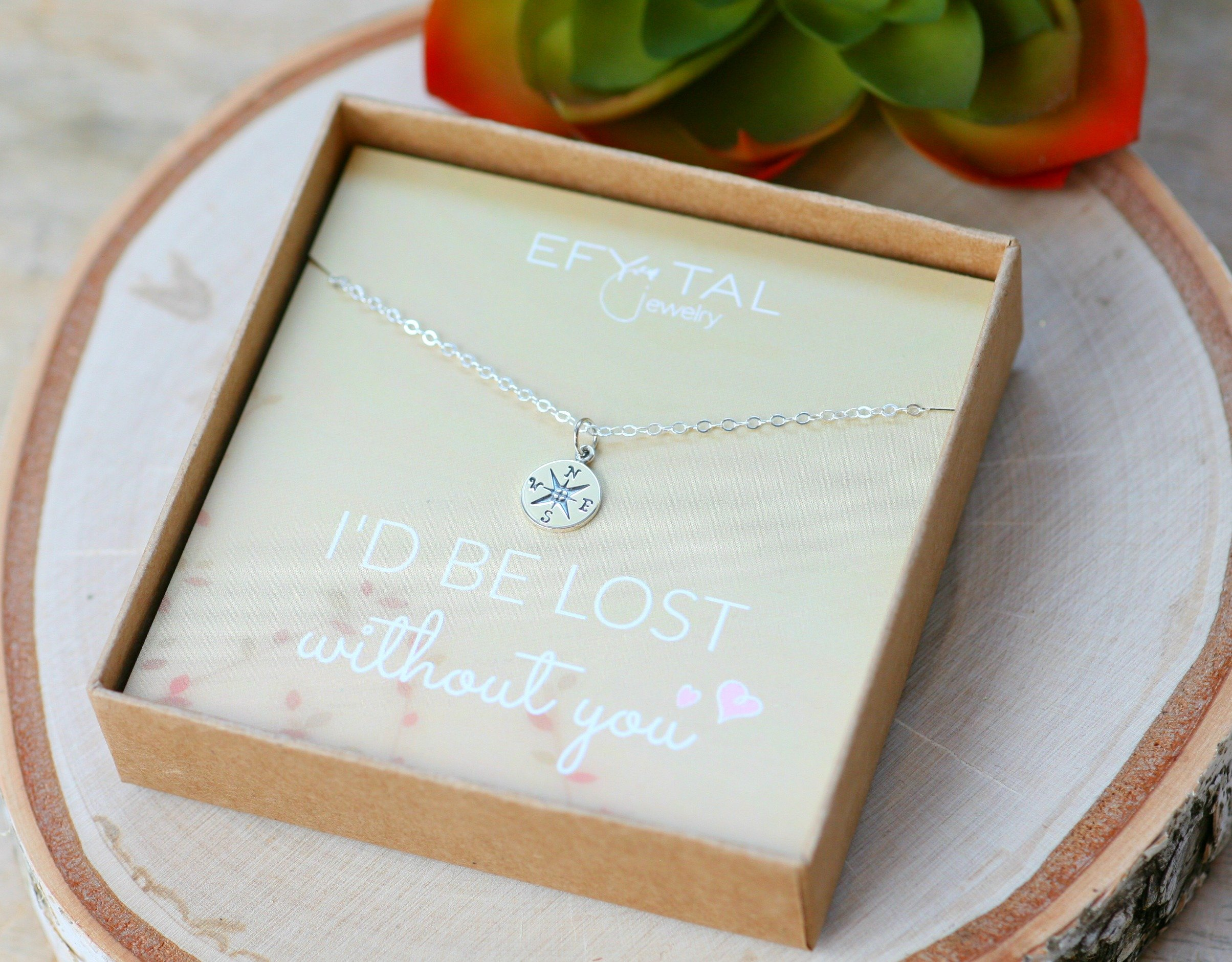Necklace Gift for Girlfriend/Wife, Sterling Silver Cute I Love You Compass Heart Jewelry for Her, Valentines Day by Efy Tal Jewelry (Image #4)