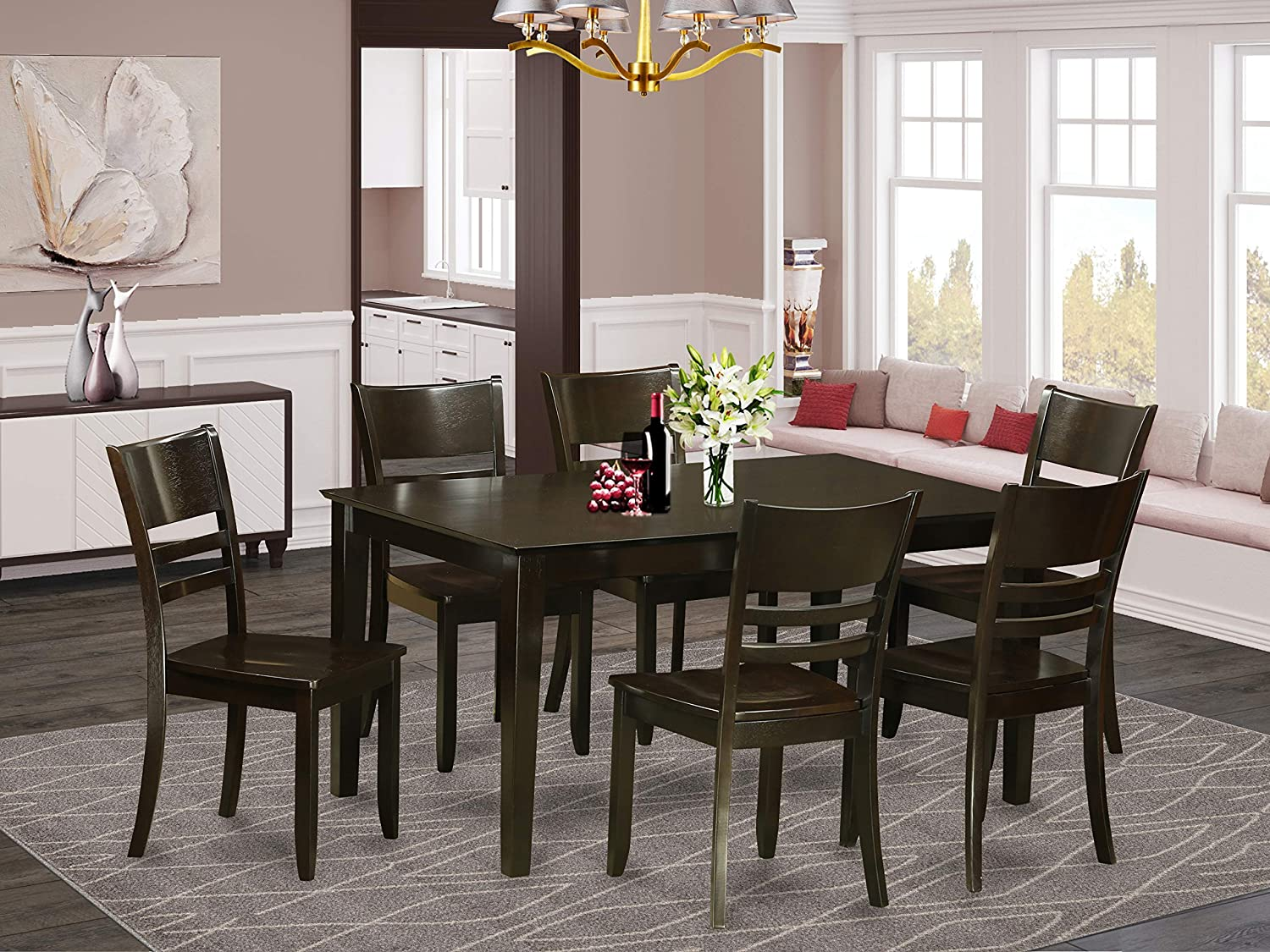 East West Furniture Rectangular Dinette Set 7 Piece - Wooden Wood Dining Chairs Seat - Cappuccino Finish Modern Dining Table and Structure